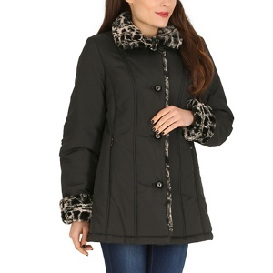 David Barry Black faux fur trim padded jacket
