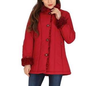 David Barry Red faux fur trim padded jacket