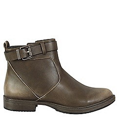 Betsy - Grey buckle detail ankle boots