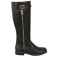 Keddo - Black zip up knee high boots