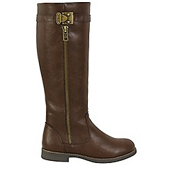 Keddo - Brown knee high zip boots
