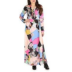 Mela - Multicoloured pussybow maxi dress