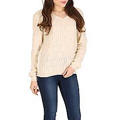 Izabel London - Cream long sleeve v-neck knitted pullover