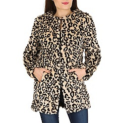 Izabel London - Brown polyetser long sleeve animal print coat
