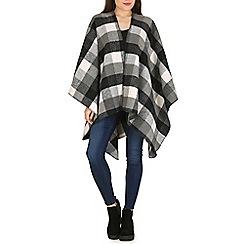 Izabel London - Grey checked knitted blanket poncho