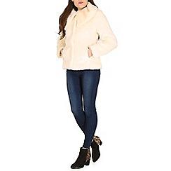 Izabel London - White polyester long sleeve plain fur jacket