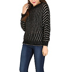 Izabel London - Black fury pocketted knitted pullover