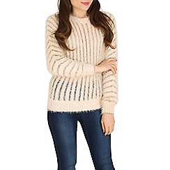 Izabel London - Beige fury pocketted knitted pullover