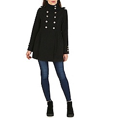 Izabel London - Black fleece double breasted military jacket
