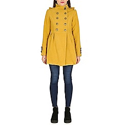 Izabel London - Mustard fleece double breasted military jacket