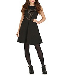 Izabel London - Black mesh and stud skater dress