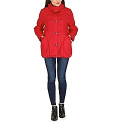 Izabel London - Red puffy scallop collar and pocket jacket