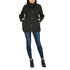 Izabel London - Black puffy scallop collar and pocket jacket