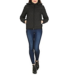 Izabel London - Black hooded puffy zipped up jacket
