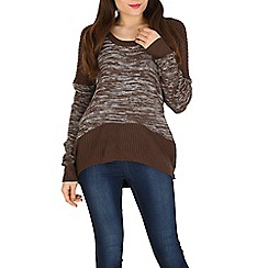 Izabel London - Brown patchy knitted pullover