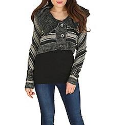 Izabel London - Black cropped knitted cardigan