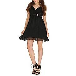 Izabel London - Black bling waist trim dress