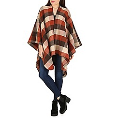 Izabel London - Tan checked knitted blanket poncho