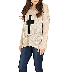 Izabel London - Beige cross knitted jumper