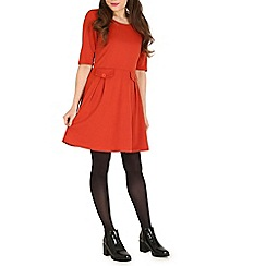 Izabel London - Orange double pocket skater dress