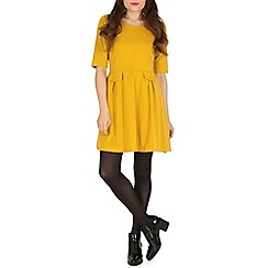 Izabel London - Mustard double pocket skater dress