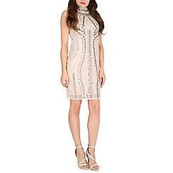 Mela - Cream high neck beaded dress