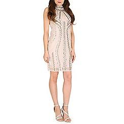 Mela - Cream high neck beaded dress