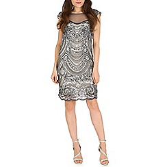 Mela - Grey grey net beaded dress