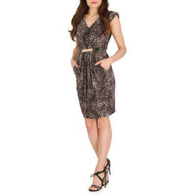 Mela Brown brown leopard print belted dress
