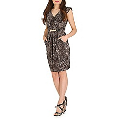 Mela - Brown brown leopard print belted dress
