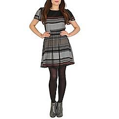 Mela - Black black geo print skater dress