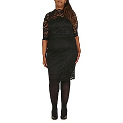 Samya - Black lace scallop hem midi dress