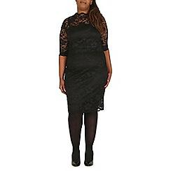 Samya - Black lace scallop hem midi dress