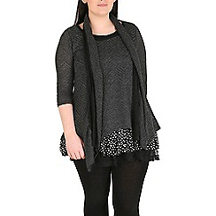 Samya - Grey plus size polka dot layered top