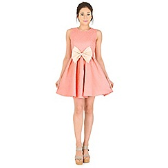 Madam Rage - Light peach jacquard bow dress