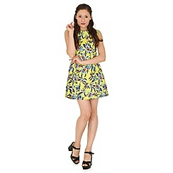 Madam Rage - Yellow neon lily skater dress