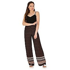 Madam Rage - Multicoloured border print plazzo trousers