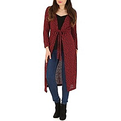 Indulgence - Wine long cardigan with belt