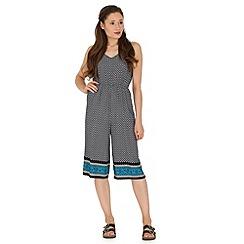 Madam Rage - Navy border print culotte jumpsuit