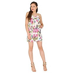 Madam Rage - Multicoloured lazer cut out floral playsuit