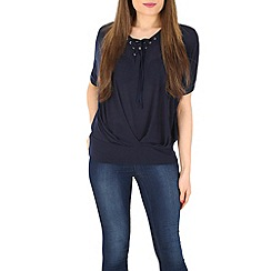 Voulez Vous - Navy lace up pleat top