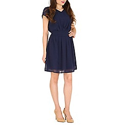 Pussycat London - Navy chiffon waist detail dress