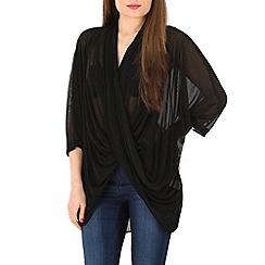 Voulez Vous - Black twist front draped mesh top