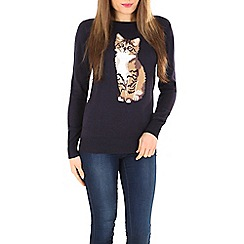 Sugarhill Boutique - Navy nita curious cat sweater