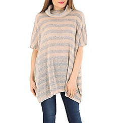 Blue Vanilla - Grey oversized roll neck striped top
