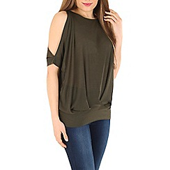 Blue Vanilla - Olive cold shoulder pleat top