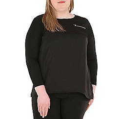 Samya - Black long sleeve zip detail top
