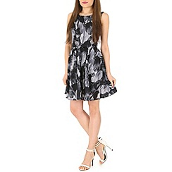 Mela - Black contrast printed dress