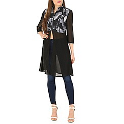 Mela - Black contrast print shirt dress