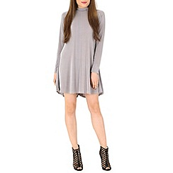Voulez Vous - Grey high neck swing dress